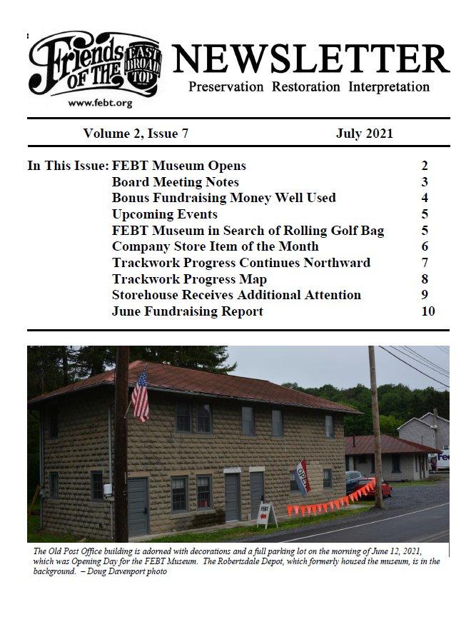 FEBT Newsletter - July 2021 cover