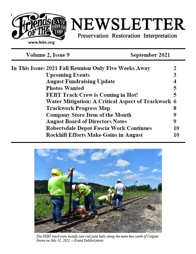 FEBT Newsletter - September 2021 cover